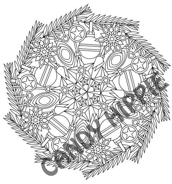 Christmas Mandala Coloring Page