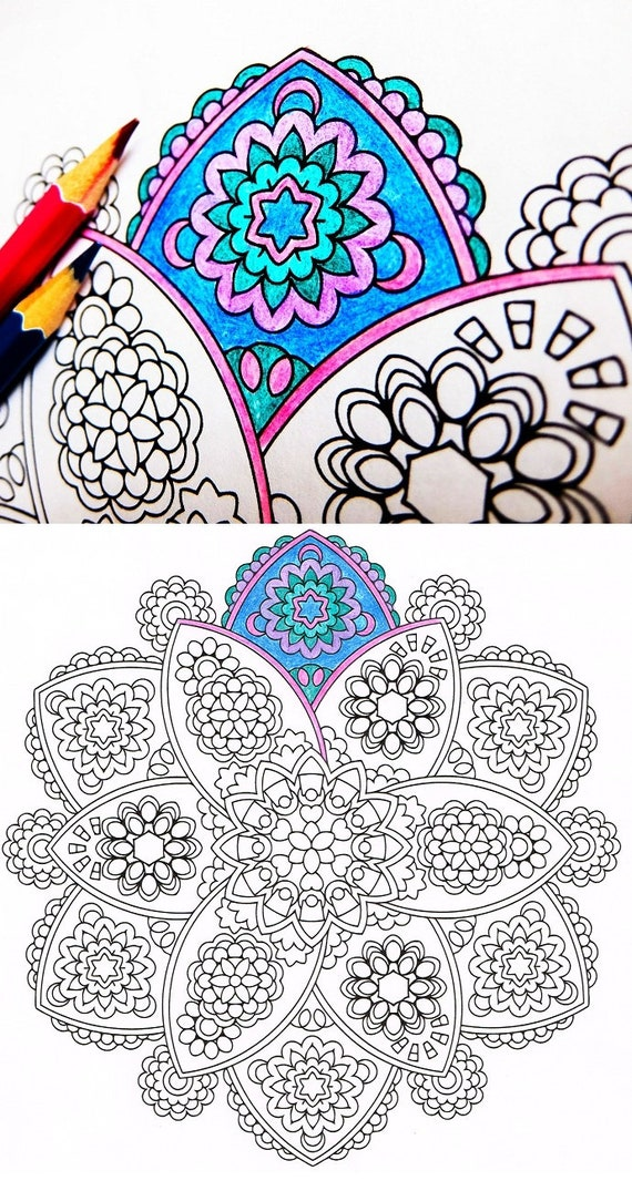 Mandala Coloring Page - Petals of Plenty - printable coloring for adults and big kids - get well soon gift - rainy day relaxation activity