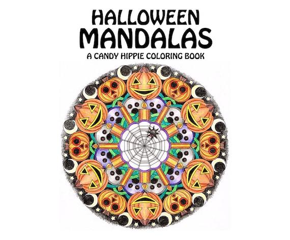 Halloween Mandalas Coloring Book printable adult coloring | Etsy