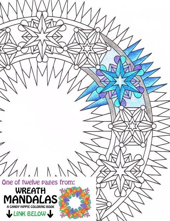Mandala Kleurplaat Ice Krans Afdrukbare Winter Krans Etsy