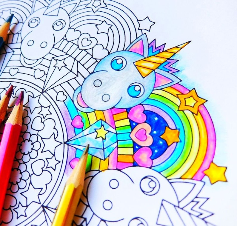 Rainbow Unicorn Mandala Coloring Page Printable Coloring Page Adult Kids Coloring Pages Pastel Girl Birthday Party