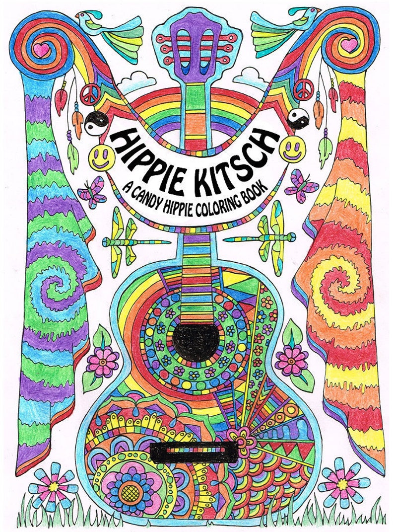 Hippie Kitsch Printable Adult Coloring Book 10 Adult Etsy