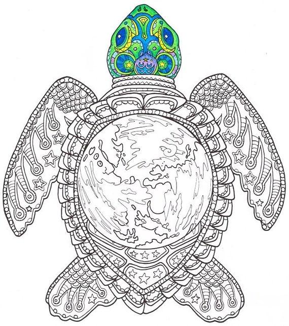 Kleurplaten Voor Volwassenen Schildpad.Volwassen Kleurplaat Wereld Schildpad Afdrukbare Pagina Kleurplaten Voor Volwassenen Deel Van De Aanstaande Hemelse Zee Kleurboek Zeeschildpad