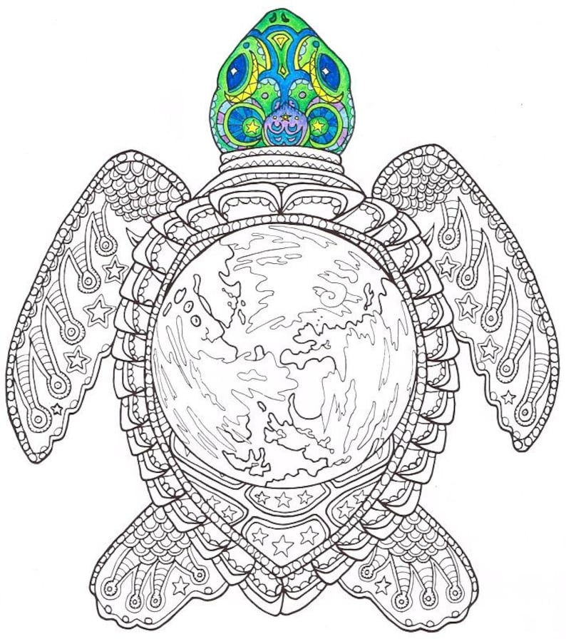 Kleurplaten Voor Volwassenen Schildpad.Volwassen Kleurplaat Wereld Schildpad Afdrukbare Pagina Etsy