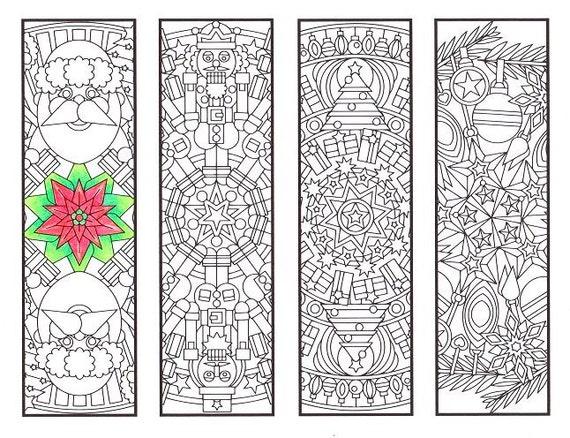 Christmas Coloring Bookmarks Mandalas