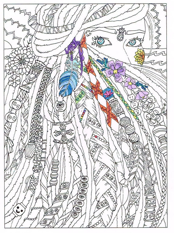 Coloring Page for Adults Dreadlocks Printable art to print