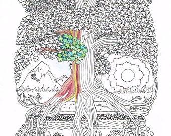Malseite - Peace-Zeichen-Tree - druckbare Linie Kunst zu drucken und Farbe