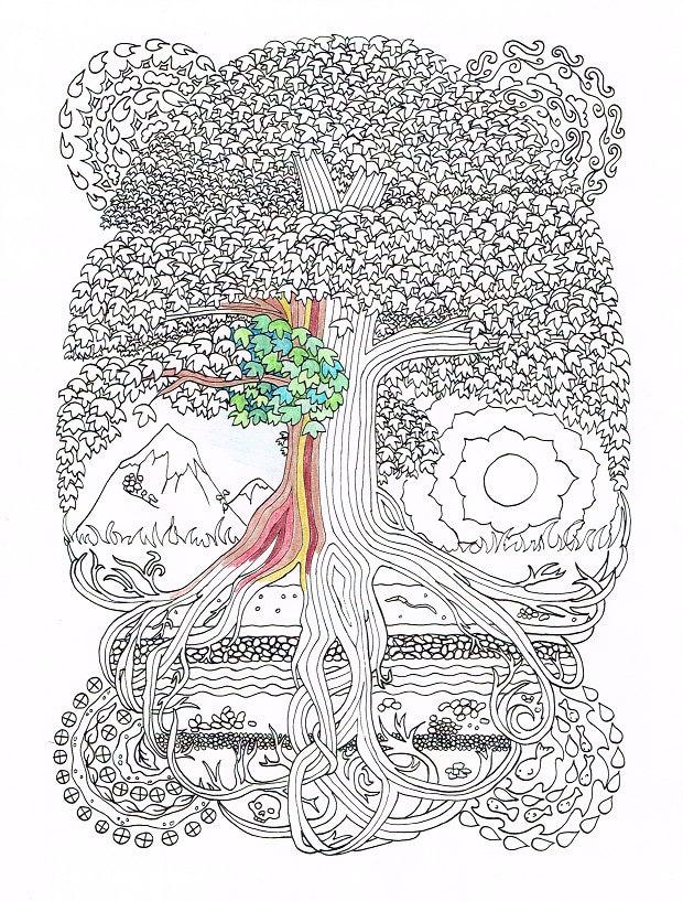 Malseite Peace-Zeichen-Tree druckbare Linie Kunst zu | Etsy