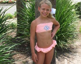 305d4bd1f698f NEW COLORS!!Girls PreTeen Monogrammed Personalized Seersucker Bikini Swimsuit  Bathing Suit