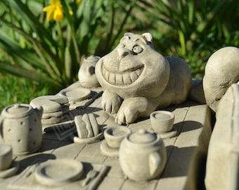 Cheshire Cat on Table (Alice in Wonderland Tea Party Stone Garden Statue)