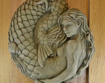 Nixie Mermaid Wall Plaque Stone Garden Ornament