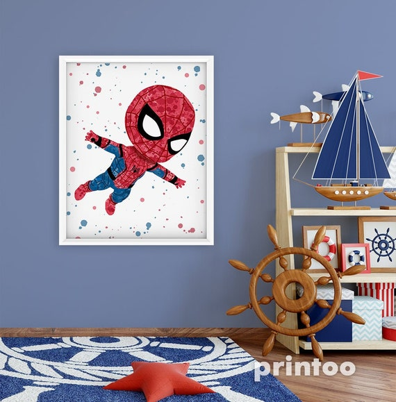 """Spiderman Poster 30/"""" x 8.5/"""" Personalized Custom Name Painting Printing"""