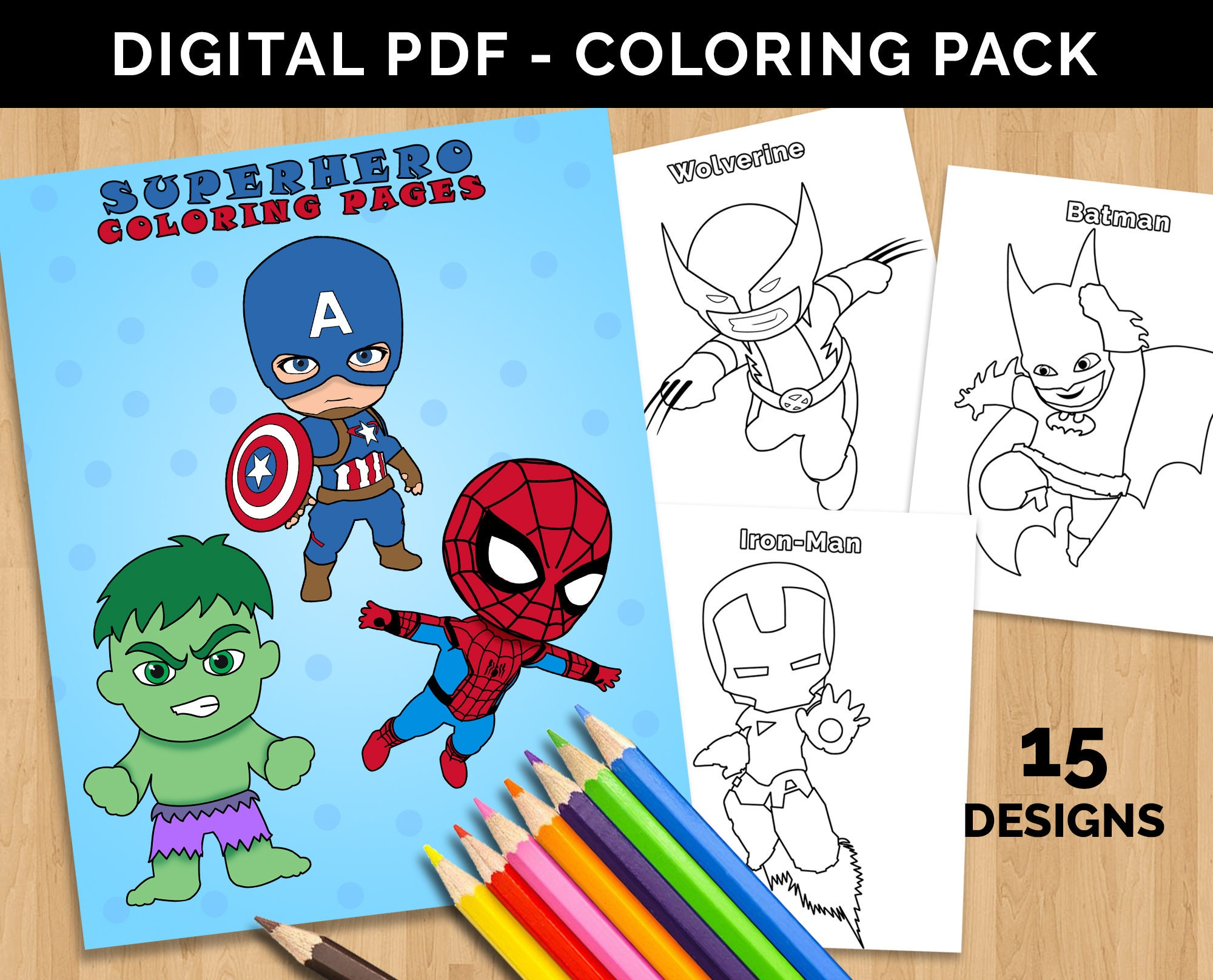 Color Superheroes Marvel Kids Avengers Coloring Pages Cute Etsy Iron Man Circuit Superhros Comics Logostore Printable Superhero Art Digital Book Spiderman Captain America