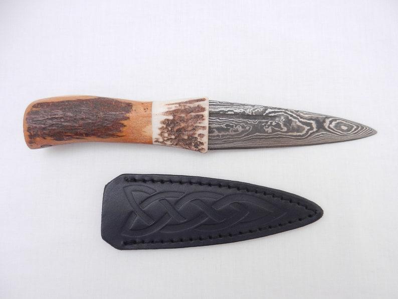 Natural Sgian Dubh Damascus Steel in Scottish Blackthorn and Antler Scottish gift wedding gift mens gift groom gift Scottish knife