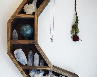 Large Crescent Moon Crystal Shelf