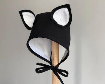 Animal Cat BABY BONNET, Hat With Ears, Handmade Kids Hat, Toddler Bonnet with Ears, Photo Prop Hat, Halloween Kids Hat, Bat Bonnet