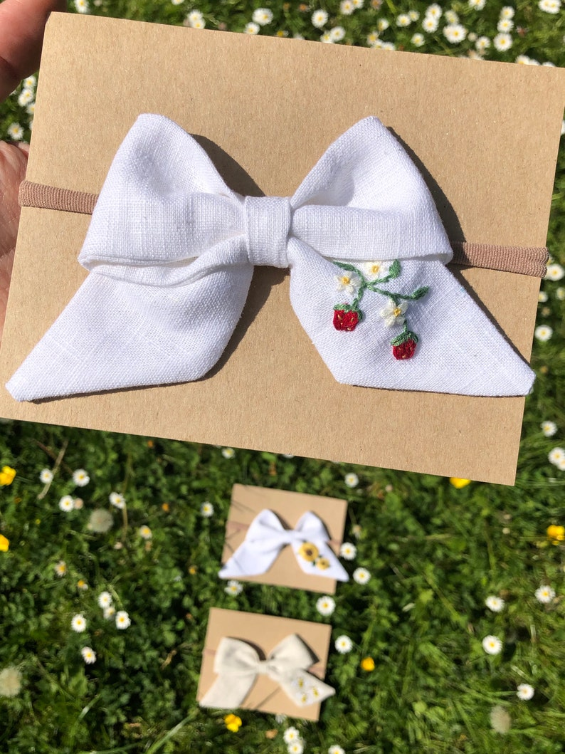 Hand Embroidered Bow Linen Bow Baby Bow Summer Bow Embroidered Strawberries