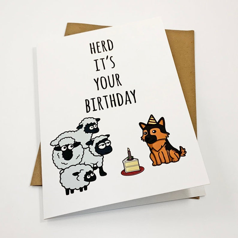 Herd It/'s Your Birthday Sheep and German Shepard Cute Birthday Card Punny Greeting Card