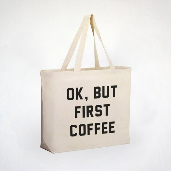 Coffee And Crochet Screenprinted Canvas Tote Bag  But First