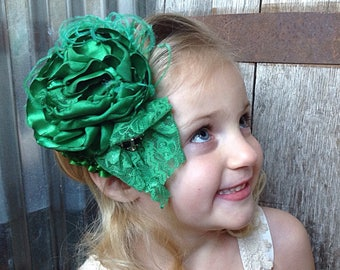Shamrock Green St. Patrick's Day OTT Satin Singed Flower headband with lace and feathers