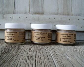 Cleansing Grains, Coconut Milk, Vanilla Bean,, ShackontheRock, Face cleanser, Face Scrub, Natural, Skincare,