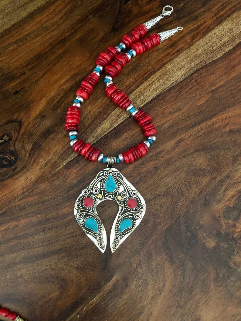 Red Coral Statement Necklace Huge Tibetan Coral Pendant Necklace Large Pendant Tibetan Nepal Pendant Necklace