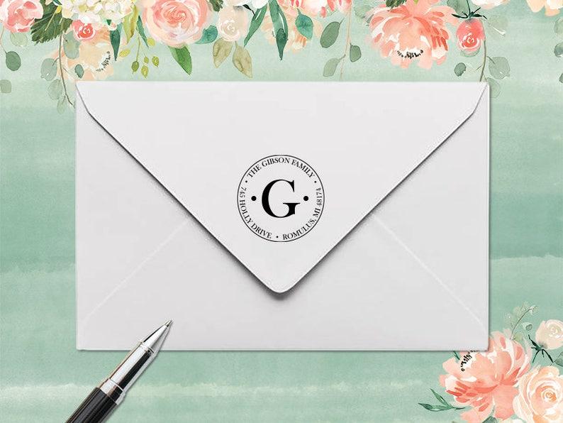 Monogram Stamp Rubber Address Stamp Personalized Stamp Self Inking Address Stamp Address Stamp Self Inking Custom Rubber Stamp