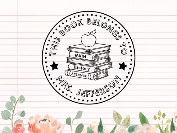 personalized teacher stamp this book belongs to please etsy