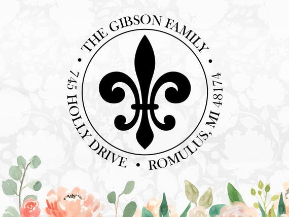 Personalized Fleur De Lis Stamp Custom Self Inking Address
