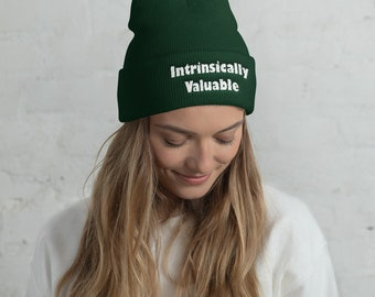 Embroidered Intrinsically Valuable Beanie LGBTQ 66901692b55