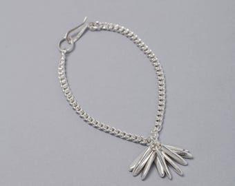 Silver medium pompom bracelet