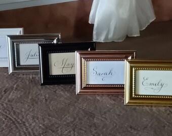 Mini Custom Calligraphy Name Framed, Custom Family Name Framed Miniature Sign