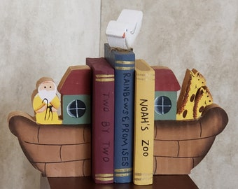 """Mini Noah's Ark Wood Book Set With Bookends for 18"""" Dolls for American Girl Dolls"""