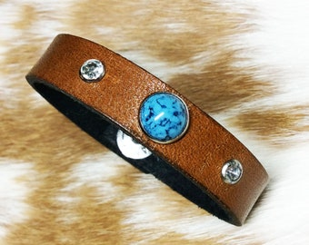 Tan southwestern leather bracelet with turquoise and crystal rivets, tan leather bracelet, southwestern, leather cuff