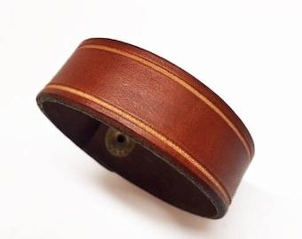 Genuine leather bracelet/cuff, plain bracelet, tan leather, aged look, wrist tattoo cover, genuine leather
