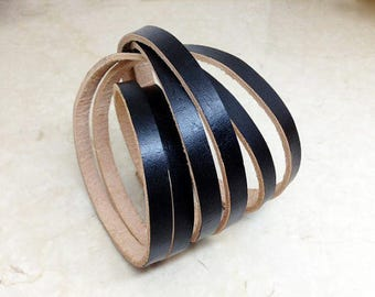 Ladies Black leather wrap bracelet