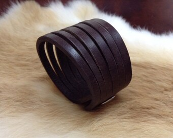 Brown slitted leather cuff
