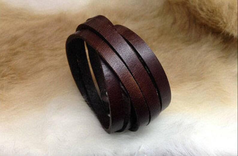 SALE Genuine leather wrap bracelet brown multi strand cuff image 0