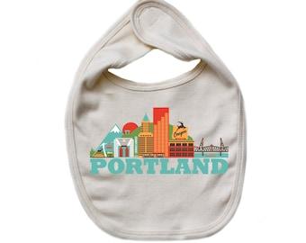 City Living Bib - Portland - Oregon - Baby Shower - Newborn Gift - Drool bib - Baby Nursery - Gender Neutral - Hometown - Organic