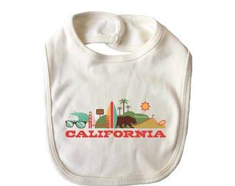 City Living Bib - California - Baby Shower - Newborn Gift - Drool bib - Baby Nursery - Gender Neutral - Hometown - Organic