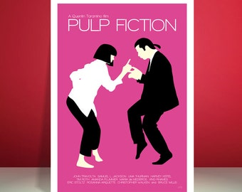 Pulp Fiction // Jack Rabbit Slim's Restaurant Dance Scene // Minimalist Movie Poster // Unique Art Print