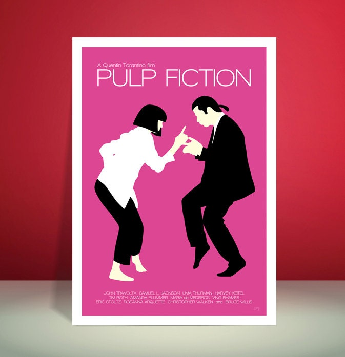 Pulp Fiction Jack Rabbit Slims Restaurant Dance Scene Minimalist Movie Poster Unique Art Print