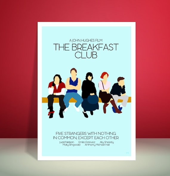 The Breakfast Club // John Hughes // 1980s // Minimalist Movie Poster // Unique Art Print