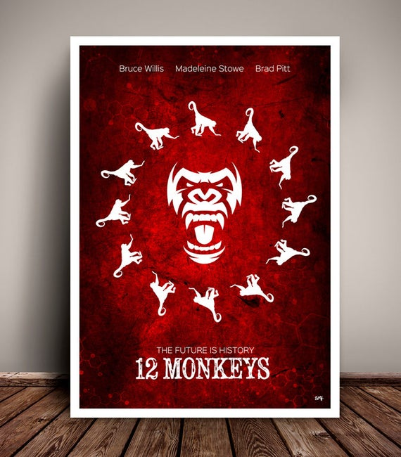 12 Monkeys // Bruce Willis // Brad Pitt //  Terry Gilliam // Minimalist Movie Poster // Unique Art Print