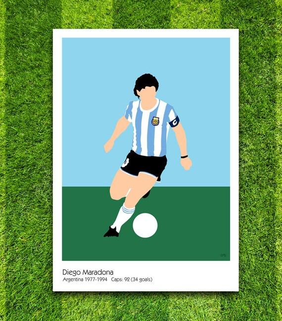 Diego Maradona // Argentina // Football // Soccer // Minimalist Poster // Unique Art Print