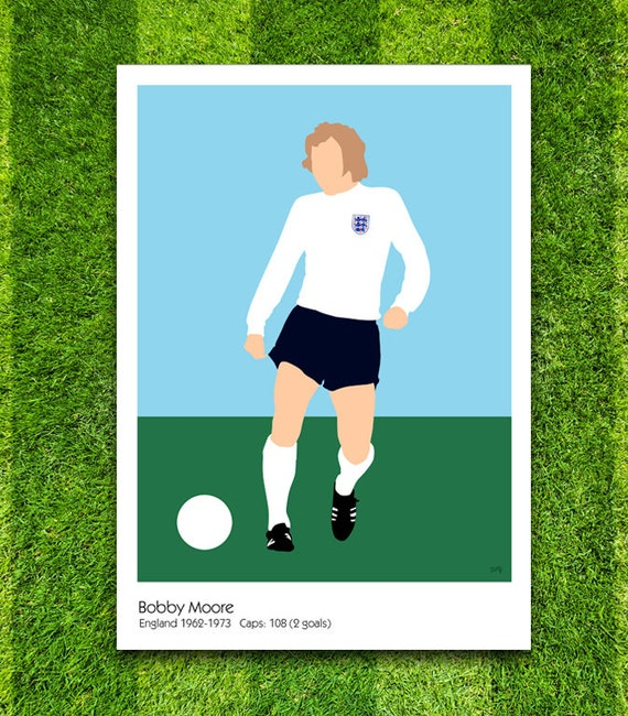 Bobby Moore // England // Football // Soccer // Minimalist Poster // Unique Art Print