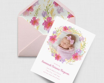 "Floral Wreath 5"" x 7"" Birth Announcement - Digital or Printed"