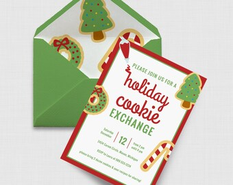 """Holiday Cookie Exchange Christmas Party 5"""" x 7"""" Invitation - Digital or Printed"""