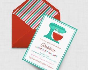 "Christmas Cookie Exchange Party 5"" x 7"" Invitation - Digital or Printed"
