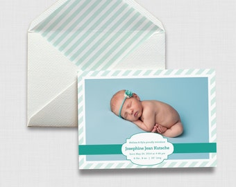 "Stripes 5"" x 7"" Birth Announcement - Digital or Printed"